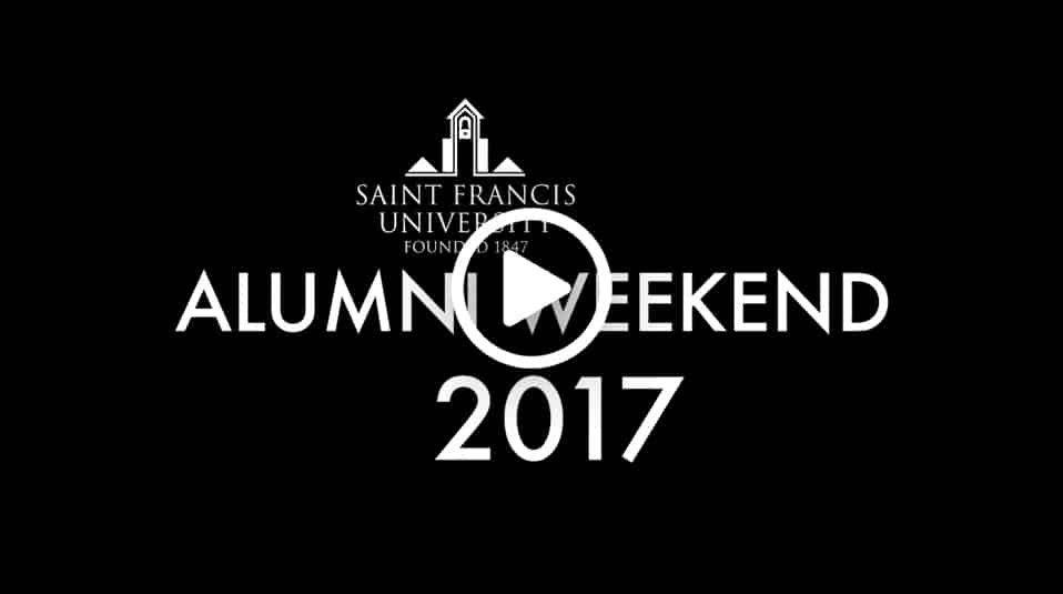 Saint Francis University Alumni Weekend screenshot with play button